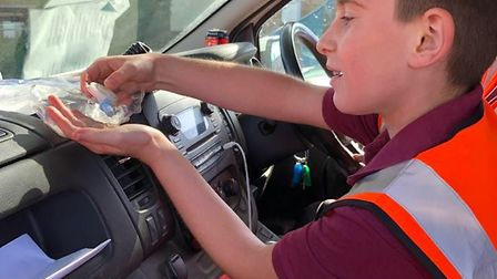 10-year-old Logan has been out and about in Sudbury but still adhering to the government guidelines