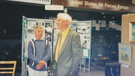 John Constable Reeve with Roger Freeman author of books on the US Airforce in World War II Photo: