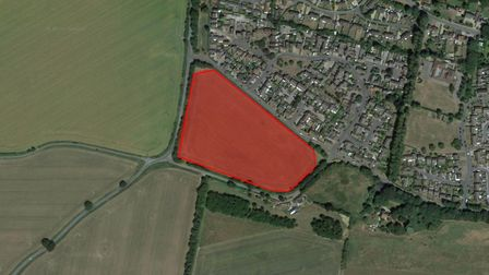 The site of the new 100 home estate in Acton which has been approved by Babergh District Council's p