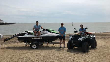 The beach patrol team at Clacton, where the drunk man was rescued in his inflatable. Picture: TENDRI