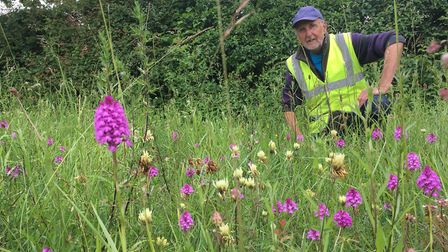 Adrian Walters at the Roadside Nature Reserve he manages at Hawstead