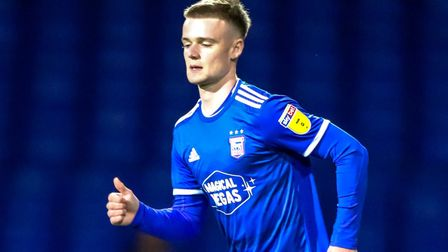 Tommy Hughes coming on as a substitute in the Ipswich Town v Gillingham EFL Trophy match. Picture