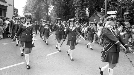 A marching band processes through Framlingham during the 1974 Gala Picture: RICHARD SNASDELL