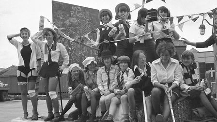 A St Trinian's-style float in the Framlingham Gala in 1979 Picture: ARCHANT