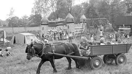 A horse and cart led children around the East Bergholt Rainbow Fair Picture: OWEN HINES