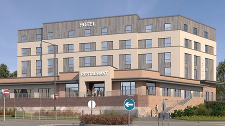 Artist's impression of the front view of the proposed hotel and restaurant in Sudbury, which the cou