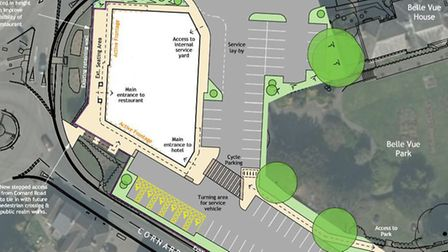 The plan for the proposed hotel and restaurant in Sudbury before proposals were put on ice in June 2