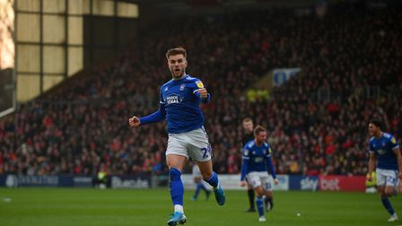 Luke Garbutt celebrates scoring with a free-kick at Lincoln City Picture Pagepix