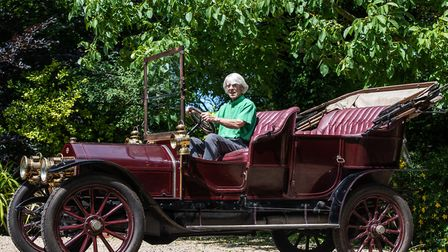 Oswald Simpson with his 1906 Wolesley Siddely, which was his first car 65 years ago Picture: SARAH