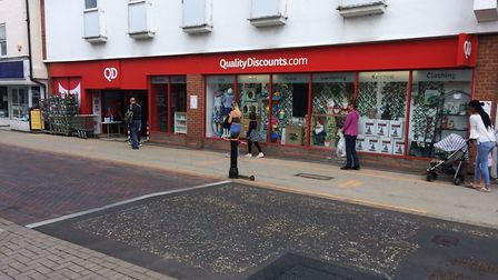 'Respect zones' have been set up in Stowmarket to ensure social distancing. Picture: STOWMARKET TOWN