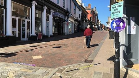 The view up Abbeygate Street in Bury St Edmunds before some non-essential shops opened from 10am tod