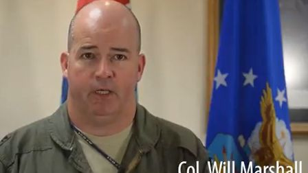 Col. Will Marshall announced the pilot had been found dead. Picture: RAF Lakenheath/PA Wire