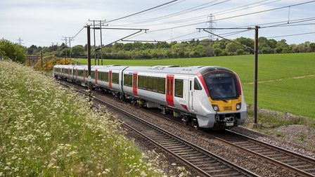 The new Bombardier Aventra on test near Ipswich. Picture: GREATER ANGLIA
