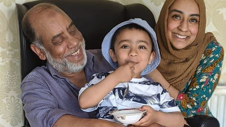 Mohammed Miah with Yaqub and Julie Begum.Picture: JULIE BEGUM