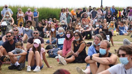 The crowd at the Black Lives Matter protest in Felixstowe. Picture: DENISE BRADLEY
