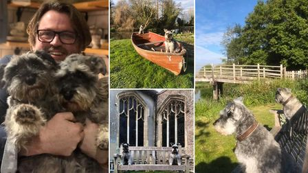 Graham Reed from East Bergholt and his two miniature schnauzers Mister Noodles and Wilfred Humphrey,