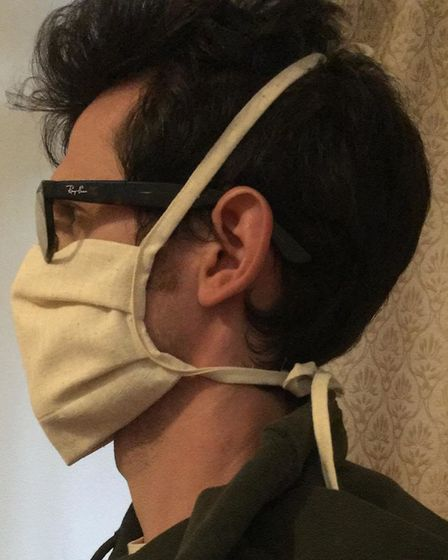 A mask from Where Does It Come From?, modelled by James Kerry Picture: LUCY KERRY