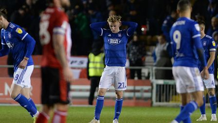 Flynn Downes at the final whistle after defeat at Lincoln City Picture Pagepix