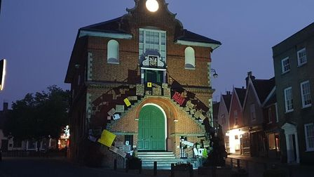 The Shire Hall at night with the signs made by protestors Picture: Harry Raithatha
