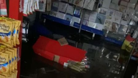 A flash flood has destroyed Sicklesmere Post Office in Suffolk. Picture: POST OFFICE