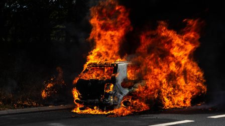 A car is on fire on the A14between Nacton and Levington. Picture: JORDAN PECK PHOTOS