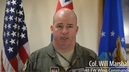 Col. Will Marshall says RAF Lakenheath are hopeful that the pilot will be recovered. Picture: RAF L