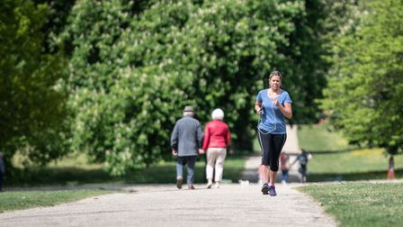 People enjoying their exercise in Christchurch Park during the lockdown in Ipswich. Picture: SARAH L