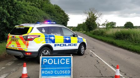 A crash between a bus and a car has closed the A143 in Horringer. Picture: HAVERHILL POLICE