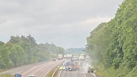 Police are at the scene of a car fire on the A14 westbound, just prior to the Barrow slip road. Pict