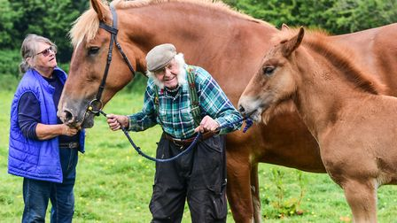 Sandy and Tom Walne with Heather and her foal, Roger. Picture: SARAH LUCY BROWN
