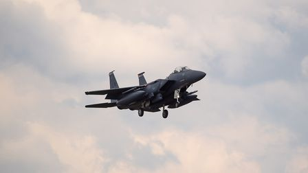 An F15 fighter jet landing at RAF Lakenheath, Suffolk similar to the one flown by US airman Kenneth