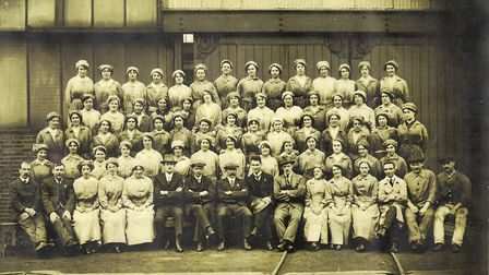 Marian's grandmother Maudie Crane - pictured third row from the back back, fourth from the right - w