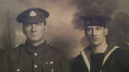 Left to right: Jim Jordan and his brother Ben, who served on the Royal Oak during the Battle of Jutl