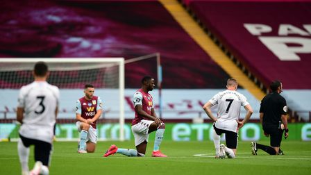 Aston Villa and Sheffield United players all took a knee prior to their game on Wednesday. Picture: