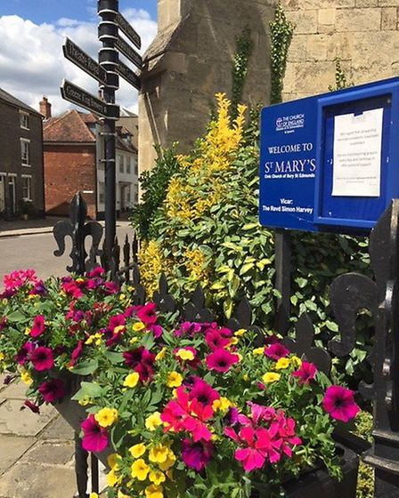 Churches are also included in Bury in Bloom's front gardens competition. Here is St Mary's Church Pi
