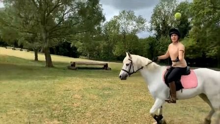 One pupil caught a tennis ball while riding a horse Picture: FARLINGAYE HIGH SCHOOL