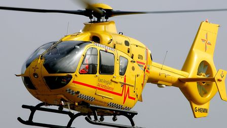 The woman was airlifted to Addenbrooks Hospital in Cambridgeshire by an East Anglian Air Ambulance.