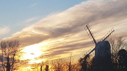One of Suffolk's many iconic scenes - sunset at Saxtead Mill near Framlingham Picture: VALERIE ROZI