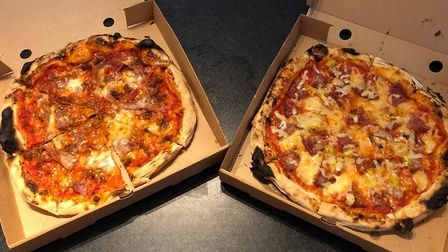Our pizzas from Pizza Rosso - the 'finocchio', left, and the carne