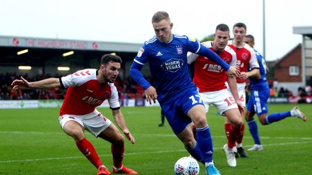 Danny Rowe battles for the ball during Ipswich Town's 1-0 win at Fleetwood Picture: ROSS HALLS