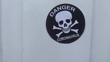 Halesworth police found the sticker reading 'danger - coronavirus' at a home in Southwold Picture: S