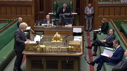 Prime Minister Boris Johnson giving a statement in the House of Commons, London, on the reduction of