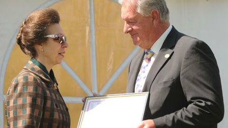 HRH the Princess Royal presents the Long Service Awards at the Suffolk Show 2011 to James Stamper fo