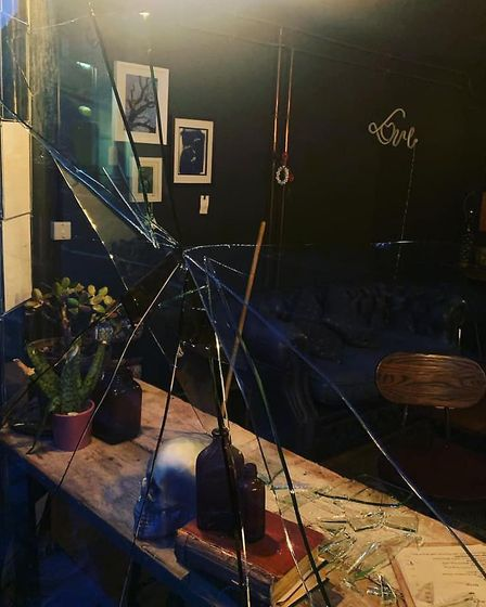 The window at the Estuary Wine Bar in Manningtree was smashed on Tuesday evening. Picture: ROWAN HUN