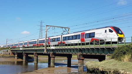One of Greater Anglia's new Stadler Intercity trains near Manningtree where the station ticket offic
