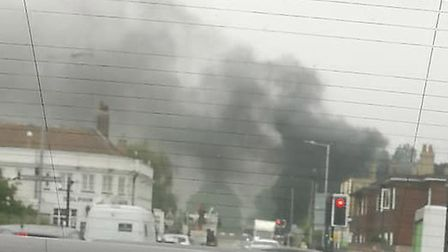 Megan Williams took this photo of the bus fire near the port of Felixstowe. Picture: MEGAN WILLIAMS