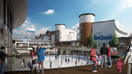 An artist's impression of SnOasis. Pictured is the proposed village centre. Picture: ONSLOW SUFFOLK/