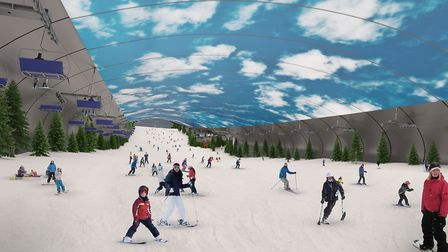 An artist's impression of the proposed ski slope. Picture: ONSLOW SUFFOLK/SNOASIS
