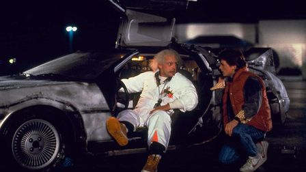 Christopher Lloyd and Michael J Fox in their time=travelling DeLorean in Back to the Future, 1985. P