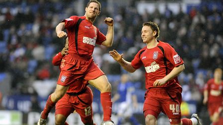 David Norris models the Mitre red away kit as he celebrates at Leicester in 2010. Picture: PAGEPIX